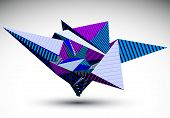 stock photo of cybernetics  - Cybernetic polygonal contrast element constructed from simple geometric figures - JPG