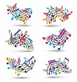 picture of rainbow piano  - Bright jolly vector staves with musical notes on white background decorative major arched set of musical notation symbol - JPG
