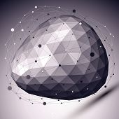 stock photo of asymmetrical  - Abstract deformed vector monochrome object with asymmetric lines mesh over dark background - JPG