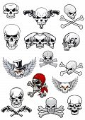 Постер, плакат: Vector skull characters with crossbones