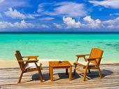 stock photo of kuramathi  - Cafe on the beach - JPG