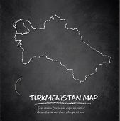 stock photo of turkmenistan  - Turkmenistan map blackboard chalkboard vector template dark - JPG