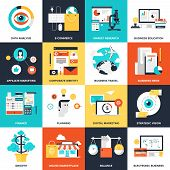 stock photo of electronic commerce  - Abstract flat vector illustration of business and finance concepts - JPG