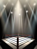 image of boxing ring  - A regular boxing ring surrounded by ropes spotlit by various lights on an isolated dark background - JPG