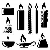 image of taper  - Set of black and white silhouette burning candles in different shapes with a spiral  conical  taper  cylindrical and lamp depicting  aromatherapy  spirituality  religion  commemorative and party - JPG