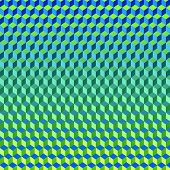 picture of psychodelic  - Psychodelic Abstract 3D Blue Green Background from Cubes - JPG