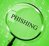 stock photo of hack  - Phishing Magnifier Meaning Security Hacking And Research - JPG