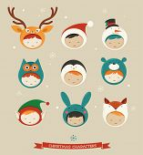 picture of bunny costume  - Christmas cute kids icons  - JPG