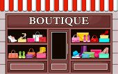 stock photo of boutique  - Picture of a fashion boutique with shoes and bags - JPG