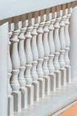 picture of old stone fence  - Old style white stone balustrade balcony fence - JPG