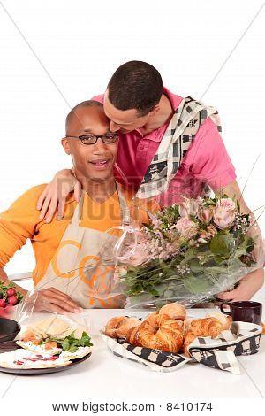 Mixed Ethnicity  Gay Couple Valentine