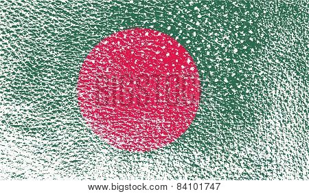 Flag Of Bangladesh With Old Texture. Vector