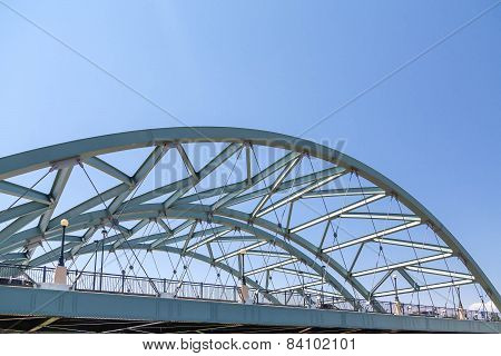 Denver Bridge With Green Arched Girders