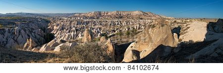 Spectacular Panoramic View In Cappadocia, Turkey, At Sunset