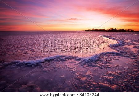 Winter Landscape With Sunset Fiery Sky. Composition Of Nature.