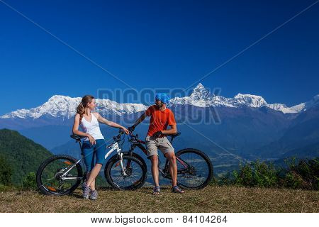 Biker family in Himalaya mountains Anapurna region