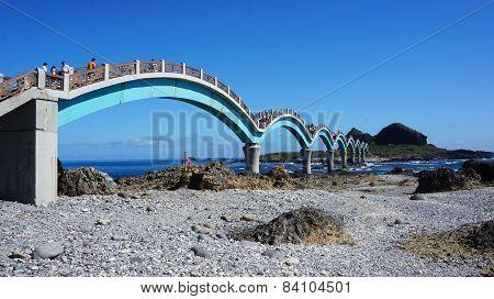 Tourists Visit The Famous Bridge At Sanxiantai In Taitung County, Taiwan
