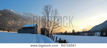 Beautiful Valley At Evening, German Winter Landscape