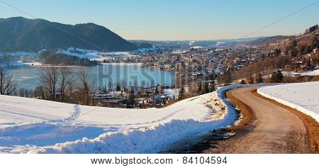Wintry Hiking Route To Spa Town Schliersee, Bavaria