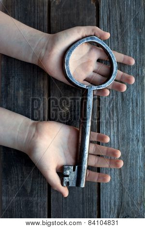 Big Key In Two Hands