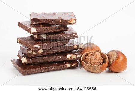 Chocolate And Nuts Isolated On White Background