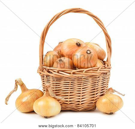 Beautiful Onion In Basket Isolated On White Background