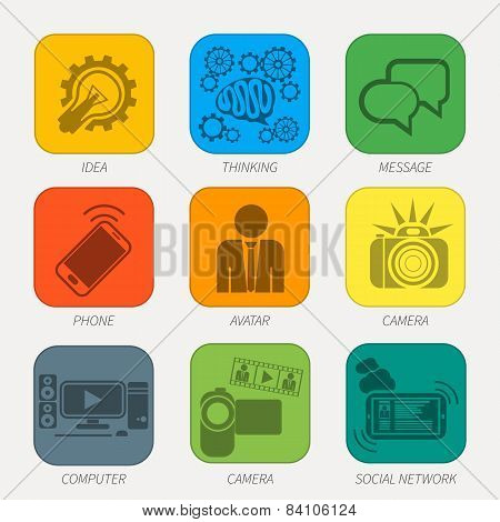 Set of media communication and hipster elements