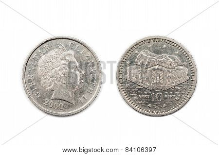 Ten Pence coin dated 2000 from Gibraltar