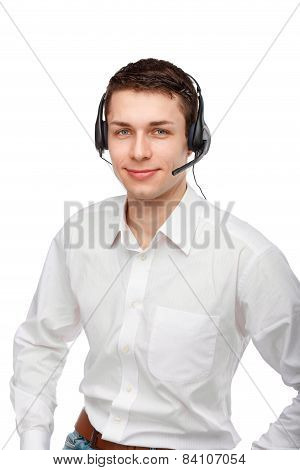 Portrait Of Male Customer Service Representative Or Call Centre Worker Or Operator Or Support Staff