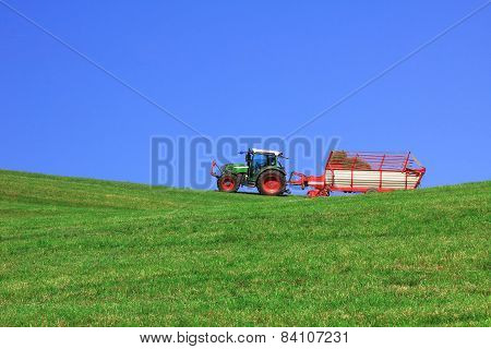 Tractor With Hayrack, Harvesting Fodder