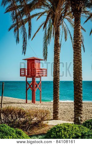 Lifeguard Tower On The Beach. Benalmadena, Malaga. Spain