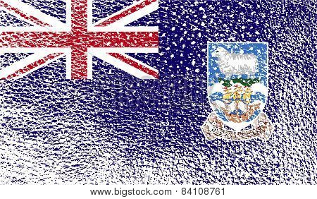 Flag Of Falkland Islands With Old Texture. Vector