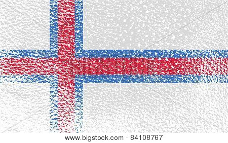 Flag Of Faroe Islands With Old Texture. Vector