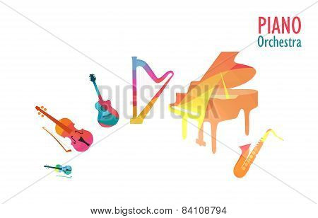 Piano Orchestra, Set Of Music Instruments