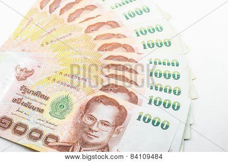 Thai Baht Banknotes Background