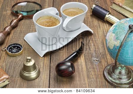 Travel And Adventure Items Collection On Grunge Wooden Table