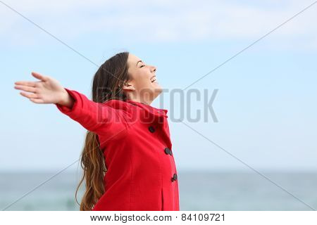 Fashion Woman Breathing Deep Fresh Air In Winter