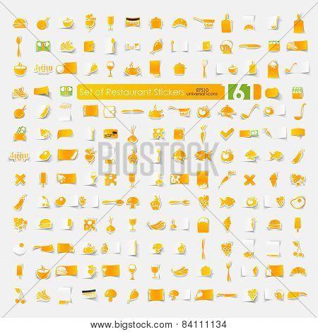 Set of restaurant stickers