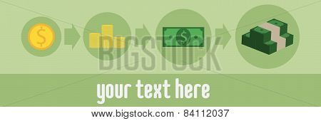 Image sequence income growth, green background