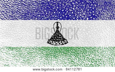 Flag Of Lesotho With Old Texture. Vector