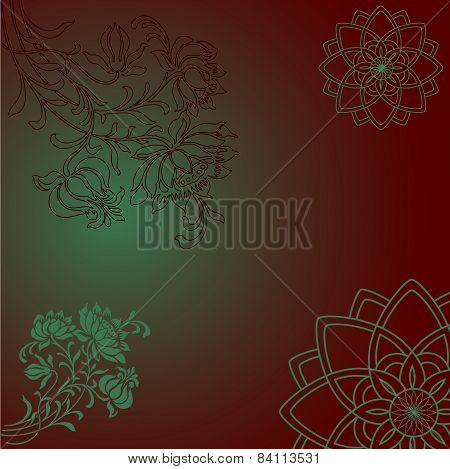 Purple and green floral mandala background