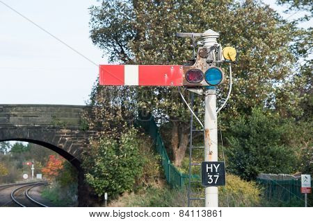 Semaphore Railway Signal in Stop/Danger Position