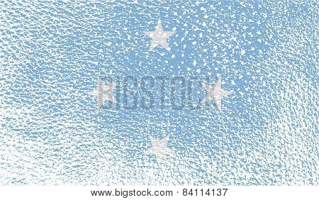 Flag Of Micronesia With Old Texture. Vector