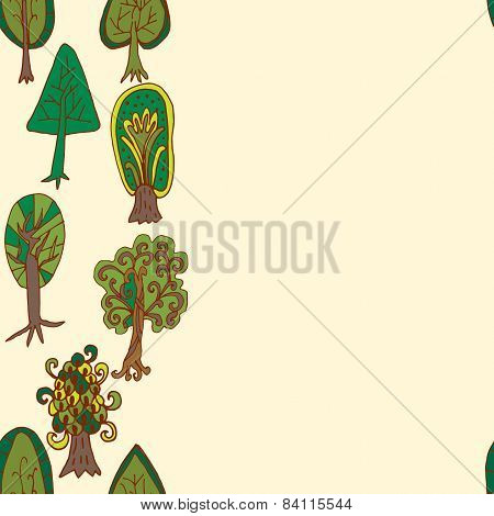 Seamless Hand-drawn Border Pattern With Doodle Forest Tree