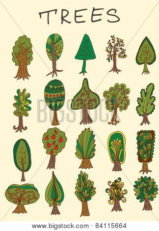 Set Of Hand-drawn Doodle Forest Tree