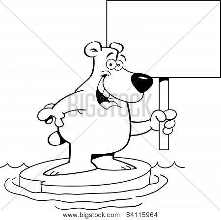 Cartoon polar bear holding a sign.