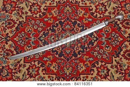 Circassian Cavalry Sword  In A Sheath On The Carpet