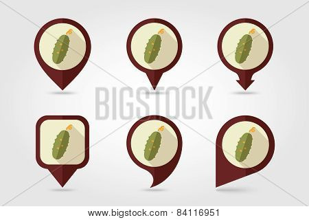 Cucumber Flat Icon With Long Shadow