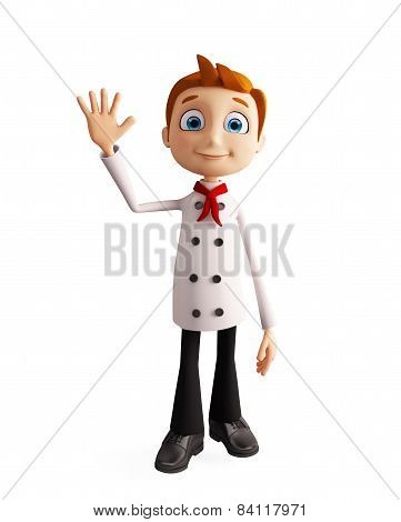Chef Character With Bye Pose