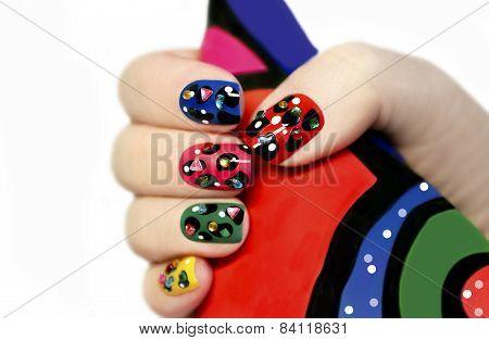 Colorful manicure.